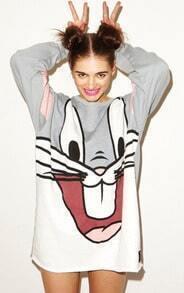 Grey Long Sleeve Bugs Bunny Pattern Sweatshirt