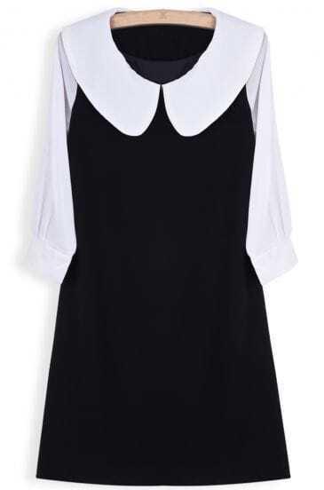 Black Contrast Half Sleeve Ruffle Chiffon Dress