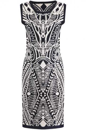 Black Sleeveless Vintage Totem Pattern Sweater Dress