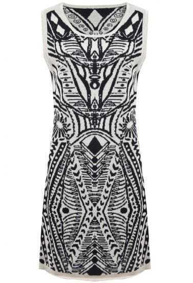 White Sleeveless Vintage Totem Pattern Sweater Dress