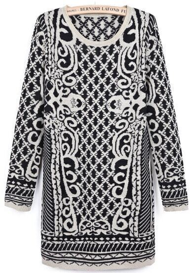 Black White Long Sleeve Diamond Patterned Sweater Dress