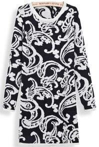 Black Long Sleeve Vintage Floral Sweater Dress