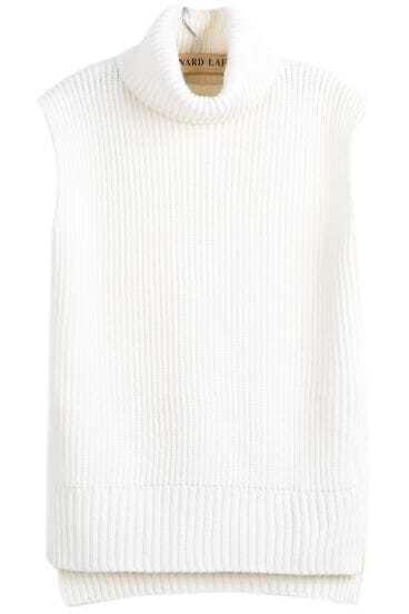 White High Neck Sleeveless Dipped Hem Sweater