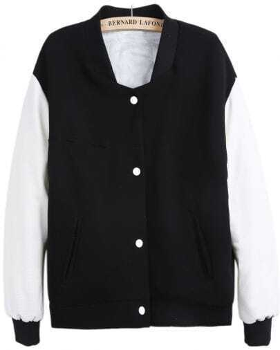 Black Stand Collar Contrast Long Sleeve Coat