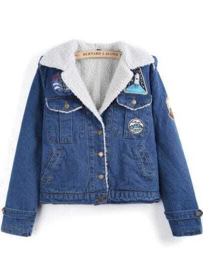Blue Lapel Long Sleeve Pockets Crop Denim Coat