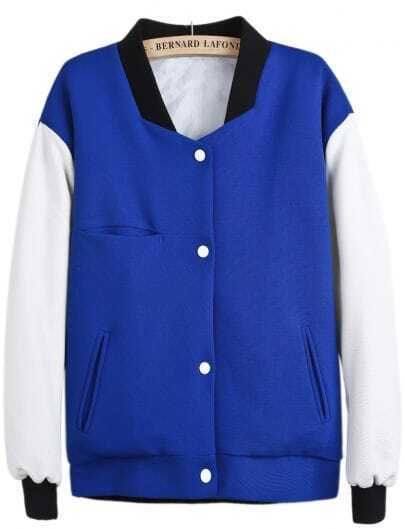 Blue Stand Collar Contrast Long Sleeve Coat
