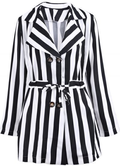 Black White Vertical Stripe Drawstring Coat