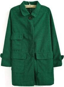 Green Lapel Long Sleeve Pockets Loose Coat
