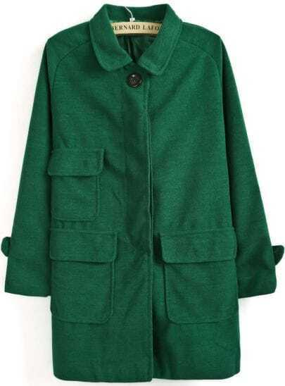Green Lapel Long Sleeve Pockets Loose Coat