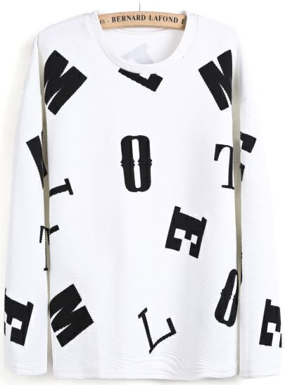 White Long Sleeve Letters Print Sweatshirt