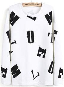 White Long Sleeve Letters Print Sweatshirt