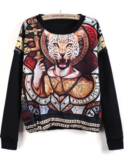 Black Long Sleeve Vintage Leopard Print Sweatshirt