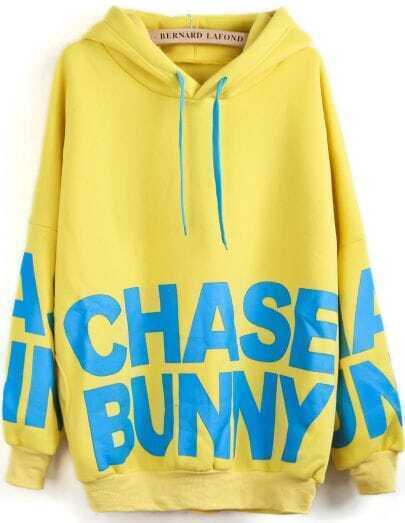 Yellow Hooded Long Sleeve Letters Print Sweatshirt