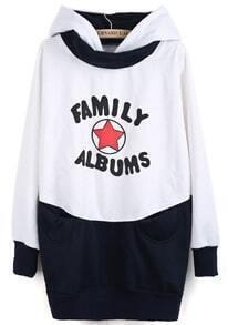 White Navy Hooded Star Letters Print Sweatshirt