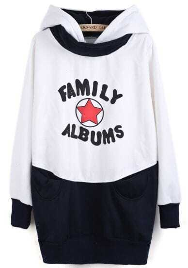 White Navy Hooded Star Letters Print Sweatshirt