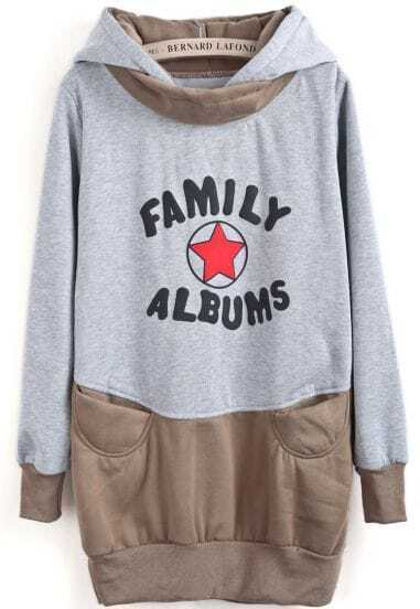 Grey Khaki Hooded Star Letters Print Sweatshirt