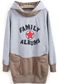 Grey Khaki Hooded Star Letters Print Sweatshirt