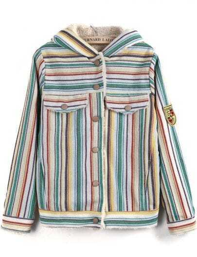 Yellow Hooded Long Sleeve Striped Pockets Jacket