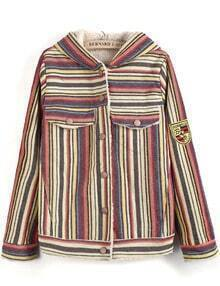 Apricot Hooded Long Sleeve Striped Pockets Jacket