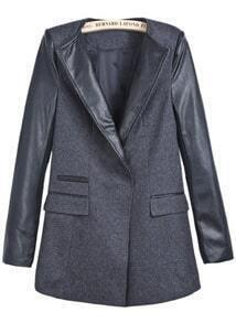 Dark Grey Contrast PU Leather Long Sleeve Tweed Coat