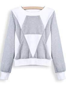 Grey White Long Sleeve Geometric Print Crop Sweatshirt