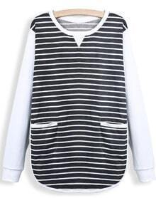 Black Contrast Long Sleeve Striped Pockets T-shirt
