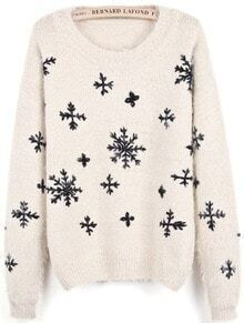 Apricot Long Sleeve Snowflake Pattern Mohair Sweater