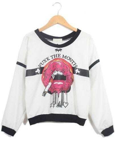 White Long Sleeve Contrast Trims Smoking Print Sweatshirt