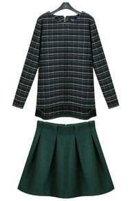 Green Long Sleeve Plaid Dipped Hem Top With Skirt