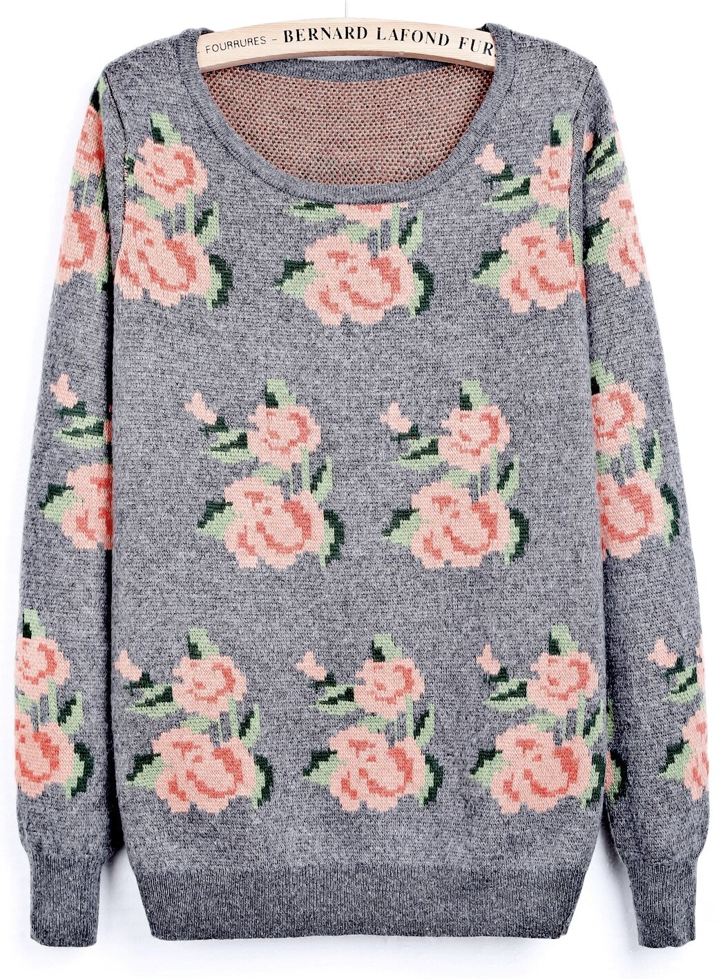 Grey Round Neck Long Sleeve Floral Loose Sweater -SheIn(Sheinside)