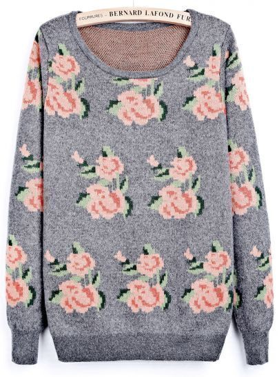 Grey Round Neck Long Sleeve Floral Loose Sweater