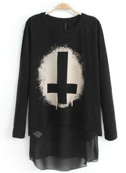 Black Long Sleeve Cross Print Dipped Hem T-Shirt