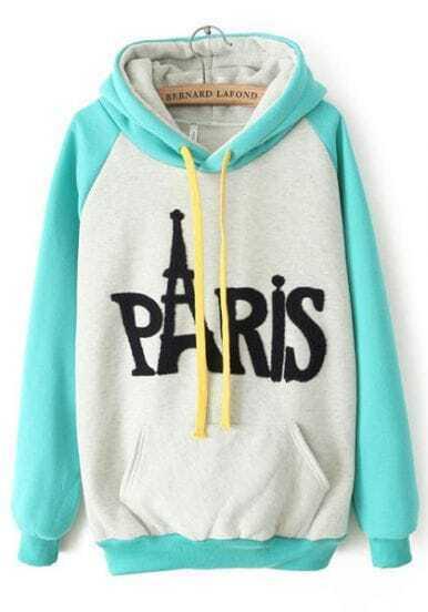 White Contrast Green Hooded PARIS Print Sweatshirt