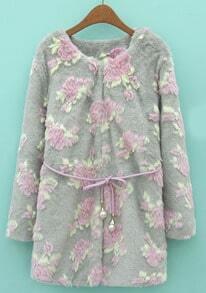 Grey Long Sleeve Flowers Embellished Faux Fur Coat