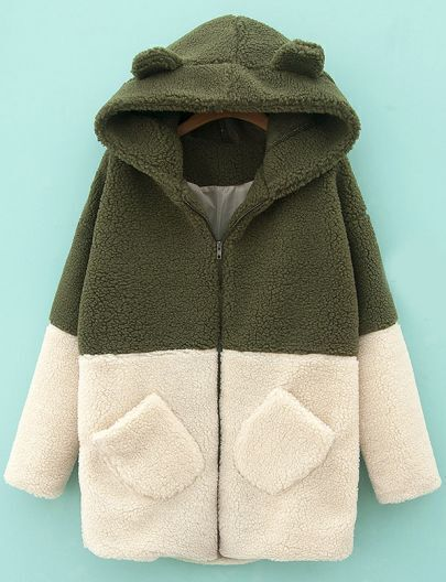 Green Hooded Contrast White Pockets Loose Coat