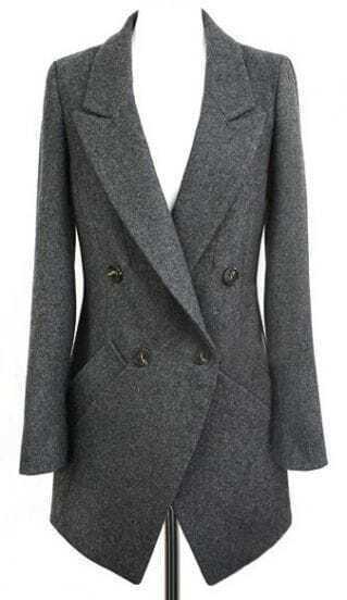 Abrigo doble botonadura manga larga-gris