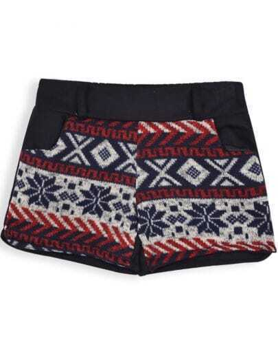 Red Low Waist Snowflake Pattern Shorts