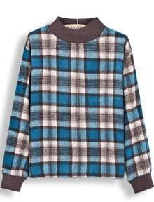 Blue Stand Collar Long Sleeve Plaid Blouse