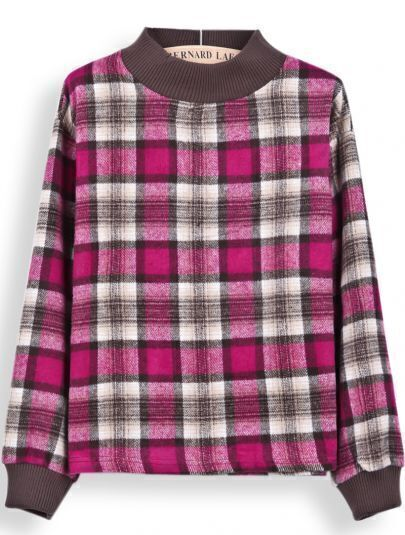 Rose Red Stand Collar Long Sleeve Plaid Blouse