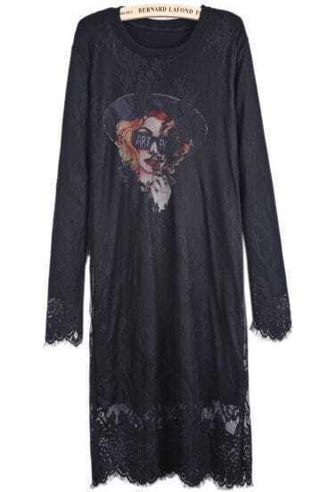 Black Long Sleeve Avatar Print Lace Mesh Yoke Dress