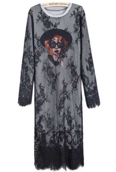Grey Long Sleeve Avatar Print Lace Mesh Yoke Dress