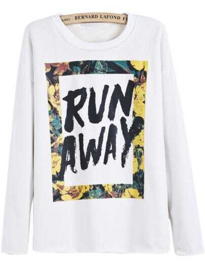 White Long Sleeve RUN AWAY Print Sweatshirt