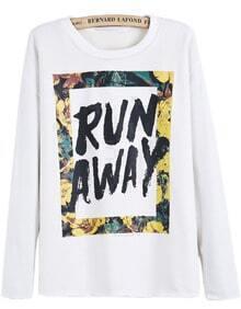 White Long Sleeve RUN AWAY Print Sweatshirt