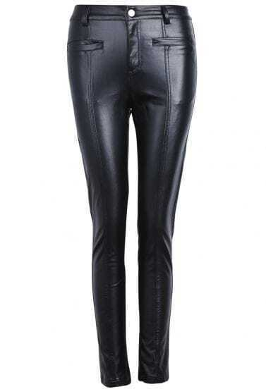 Black Fashion Pockets Slim PU Leather Pant