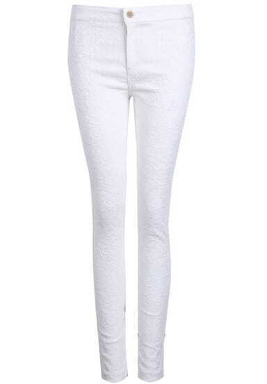 White Slim Embroidered Lace Pant