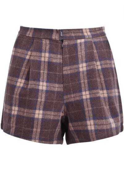 Khaki Plaid Pockets Woolen Shorts