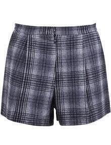 Grey Plaid Pockets Woolen Shorts