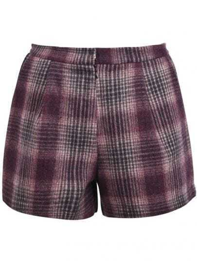 Red Plaid Pockets Woolen Shorts