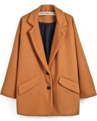 Yellow Notch Lapel Long Sleeve Pockets Woolen Coat