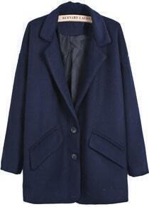 Blue Notch Lapel Long Sleeve Pockets Woolen Coat
